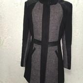 Шикарное стильное комбинированное пальто, букле, кожзам р.10 пог 47 УП бесплатно