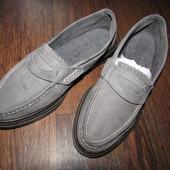 Серые нубук кожа спортивные мокасины туфли Top Sport 39 р. туфли были на фотосессии, сост новое