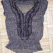 Шифонова блузка в горошок, баклажанового кольору, розмір10/38