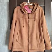 Фирменная новая красивая куртка с капюшоном из эко-замши на замочке р.22-24(48)