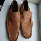 рыжие кожаные туфли р-р 44,стелька 29.5см