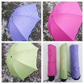новинка.механический зонт с проявляющимся рисунком при намокании.салатовый в лоте