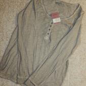 женская футболка , винтажный стиль, с длинным рукавом Blue Motion. Германия.