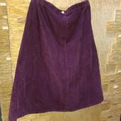 На пышные формы! Шикарная плотная темно-бордовая вельветовая юбка р.18 Акция читайте