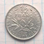 Монета Франции 1/2 франка а 1965