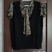 Фирменная красивая блуза 2в1 трикотаж+шифон р.12-16 в состоянии новой вещи