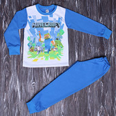 Последний р.-р 64! Хит продаж! Теплая пижама с начесом Майнкрафт Качество отличное!