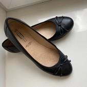Кожаные черные балетки туфли 5th avenue 38