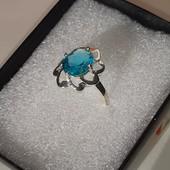 Серебряное кольцо с голубым Swiss Blue Топазом, 925 проба