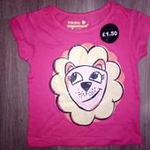Малиновая футболка на девочку с левкой 3-4 года