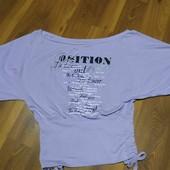 Сиреневая футболка с красивым принтом,рукав летучая мышь.