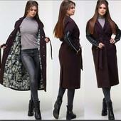 Женское новое пальто-кашемир+ЭКО кожа.Размер укр.46/48