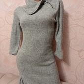 В идеале! Стильное вязанное деми платье резинка светло-серый меланж