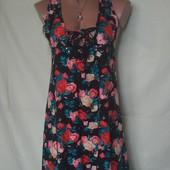 Фирменное лёгкое платье со шнуровкой, вискоза,от Primark,xs/s