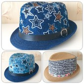 Стильная детская летняя шляпа с лентой декор р.54