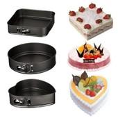 Набор разъемных форм для выпечки коржей , тортов,кексов (сердце, круг, квадрат) 3 в 1