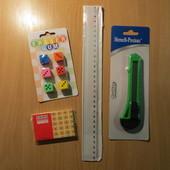 Набор канцелярских принадлежностей ( линейка,нож,бумага,ластики )