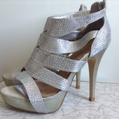 Босоножки металлик на выпускной праздник свадьбу zara new look 37