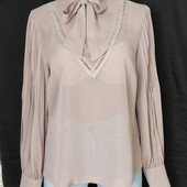 Фирменная блузочка с плессированными рукавами,M&S,12p(L)