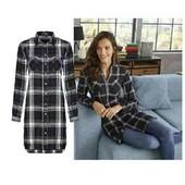esmara .стильная фланелевая удлиненная рубашка -туника евро 44+6замеры
