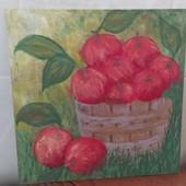 """Картина на холсте """"Яблоки в кадке""""на 30на30"""