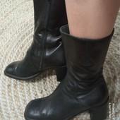 Сапоги ботинки деми. Натуральная мясистая кожа снаружи и внутри, 24 см