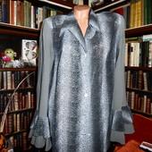 Серая блуза с блестками и воланами