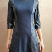 Платье со вставками кожи