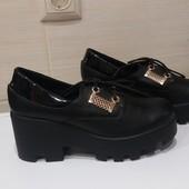 Осенние ботиночки на платформе из натуральной кожи. Р 35