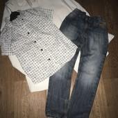 Фирменный look : джинсы и хлопковая рубашка . На мальчика 7 лет
