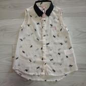 Фирменная красивая шифоновая блуза-туника в состоянии новой вещи р.10-12лет