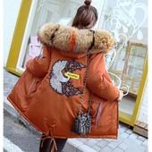 Cтильные молодежные женские пальто парки с вышивкой на спине