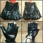 Моднявые перчатки без пальцев, натуральная лаковая кожа