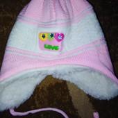 Теплая детская шапочка от 0 до года