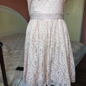Гипюровое нежное персиковое платье 10 на S