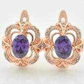 Новинка!!!Очаровательные очень нежные серьги с фиолетовым кристаллом +фианиты позолота 585 пробы