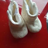 Baby club новые детские пинетки сапожки ботиночки в коляску белые 16-17-18 р 3-6-9 м  11см