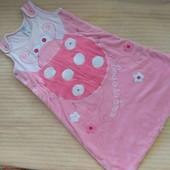TU розовый велюровый теплый спальный мешок 2.5 Tog 0–3-6м 68см отличное состояние