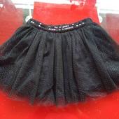 Kinderit пышная фатиновая юбка туту американка 92-98см 2-3г черная с блеском и пайетками