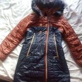 зимнее тёплое, лёгкое пальто-куртка L, XL.