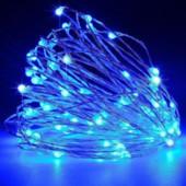Гирлянда Роса, на батарейках и USB, 10 метров, 2 режима свечения, цвет синий