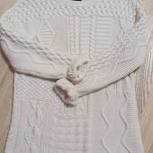 Шикарный ажурный белый свитер.