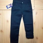 Теплые котоновые штаны на флисе р.122 чёрные и тёмно-синие Новые