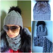 Новый комплект шапка и шарф на пуговицах, нитка отличного качества!!! Цвет горький шоколад