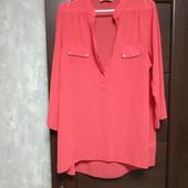 Фирменная красивая блуза с удлиненной спинкой в отличном состоянии р.16-18
