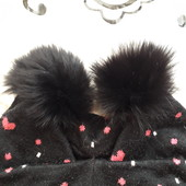 Шапка осень-зима девочке 11-13лет, с натуральным мехом