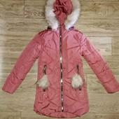 Новая удлиненная зимняя куртка на 9-11л.