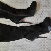 Женские ботфорты чёрные из натуральной замши, б/у, 38 размер
