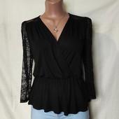 Очень красивая блузочка из тонкого трикотажа+кружево,вискоза,s/m
