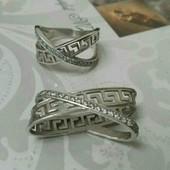 Серебрянный комплект Меандр. Подвес и кольцо.
